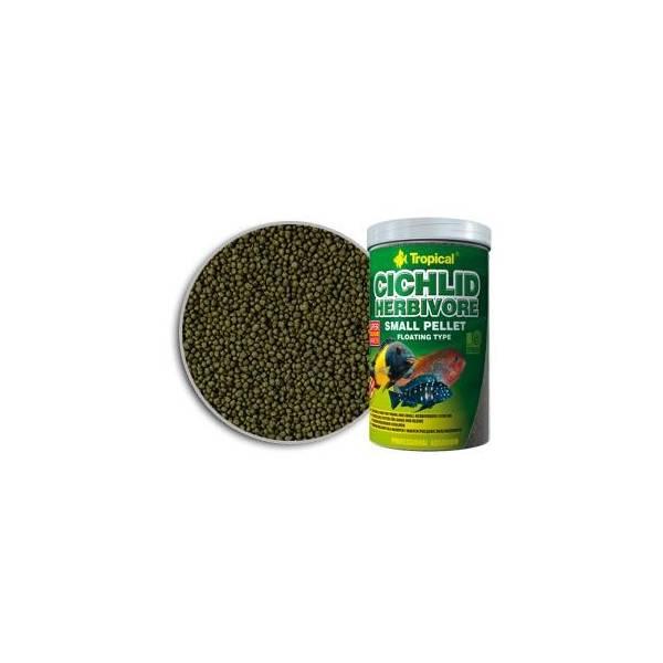 TROPICAL CICHLID HERBIVORE SMALL PELLET roślinny granulowany pokarm dla mlodych pilęgnic oraz małych gatunków 1000ml/300g